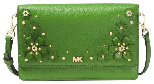 Preload https://img-static.tradesy.com/item/24348541/michael-kors-floral-embellished-pebbled-convertible-true-green-leather-cross-body-bag-0-1-540-540.jpg