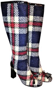 Kate Spade Keera Wool Leather Heeled Blue Plaid Boots