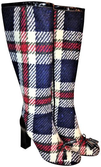 Preload https://img-static.tradesy.com/item/24348562/kate-spade-blue-plaid-keera-leather-heeled-bootsbooties-size-us-7-regular-m-b-0-1-540-540.jpg