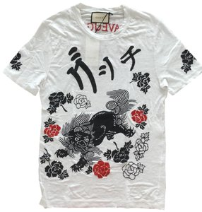 Gucci T Shirt white with black and red