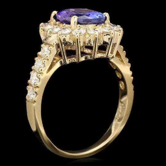 Other 3.85 Carats NATURAL TANZANITE and DIAMOND 14K Yellow Gold Ring Image 1