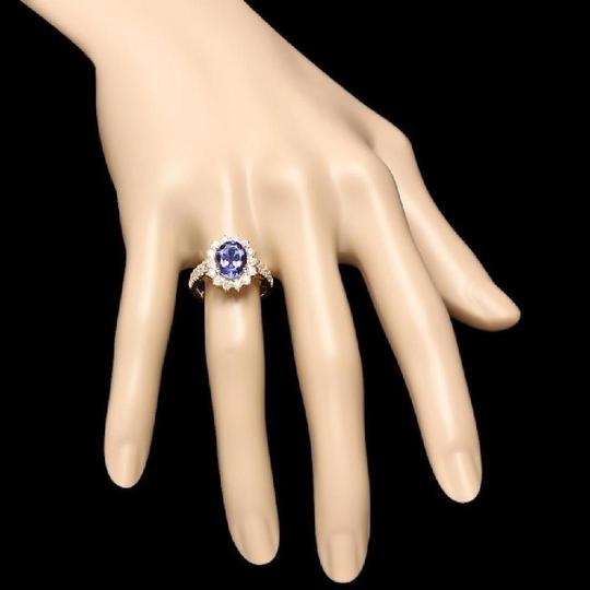 Other 3.85 Carats NATURAL TANZANITE and DIAMOND 14K Yellow Gold Ring Image 2