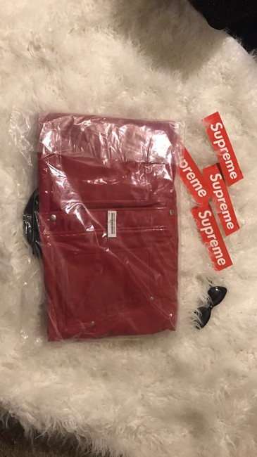 Supreme Red Leather Jacket Image 3