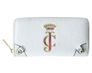Juicy Couture Juicy Couture White Ibiza Velour Continental Zip Around Wallet Clutch