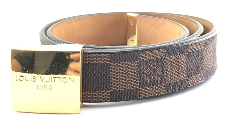 03604e22b7fd Louis Vuitton damier ebene gold buckle leather Belt Logo size 80 32 Image 0  ...