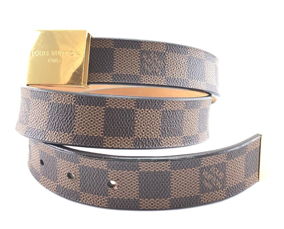 ca50c83ae181 Louis Vuitton damier ebene gold buckle leather Belt Logo size 80 32 Image  11. 123456789101112