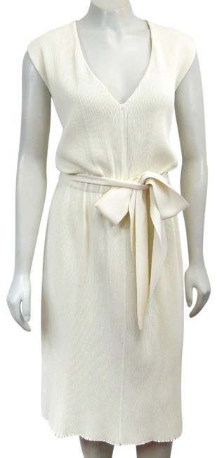 Preload https://img-static.tradesy.com/item/24348880/celine-ivory-tie-sleeveless-ribbed-knit-waist-bow-vneck-white-xs-mid-length-workoffice-dress-size-2-0-1-650-650.jpg