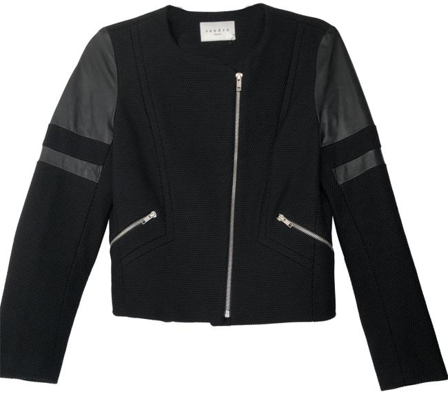 Sandro Black Textured Cotton with Leather Detail (Rn 132784 V5672e) Jacket Size 6 (S) Sandro Black Textured Cotton with Leather Detail (Rn 132784 V5672e) Jacket Size 6 (S) Image 1