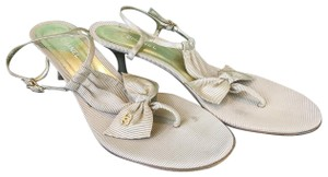 Chanel T-strap Bow Beige Sandals