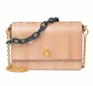 Tory Burch Cross Body Embossed Snake Turn Lock Designer Logo Shoulder Bag