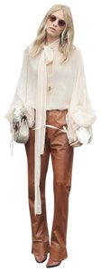 Gucci Leather Straight Pants Camel honey