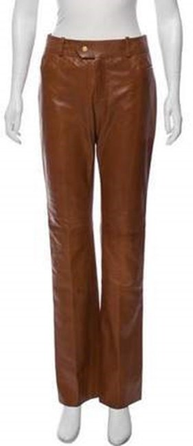 Gucci Leather Straight Pants Camel honey Image 3