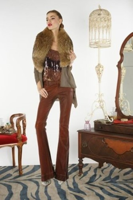Gucci Leather Straight Pants Camel honey Image 4