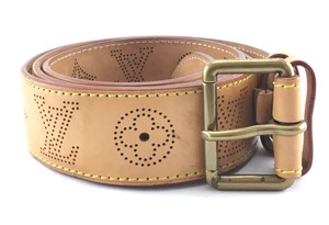 Louis Vuitton Ultra Rare gold buckle perforated leather Belt size 100 40 Logo