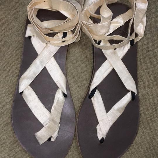 Ssekis off white ribbon/brown sole Sandals Image 1