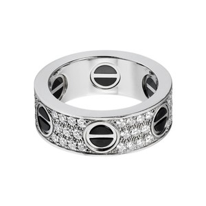 Cartier Cartier Love Diamond Pave Black Ceramic Ring Full Circle Eternity