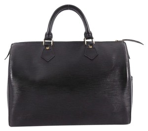 Louis Vuitton Speedy Leather Satchel in black