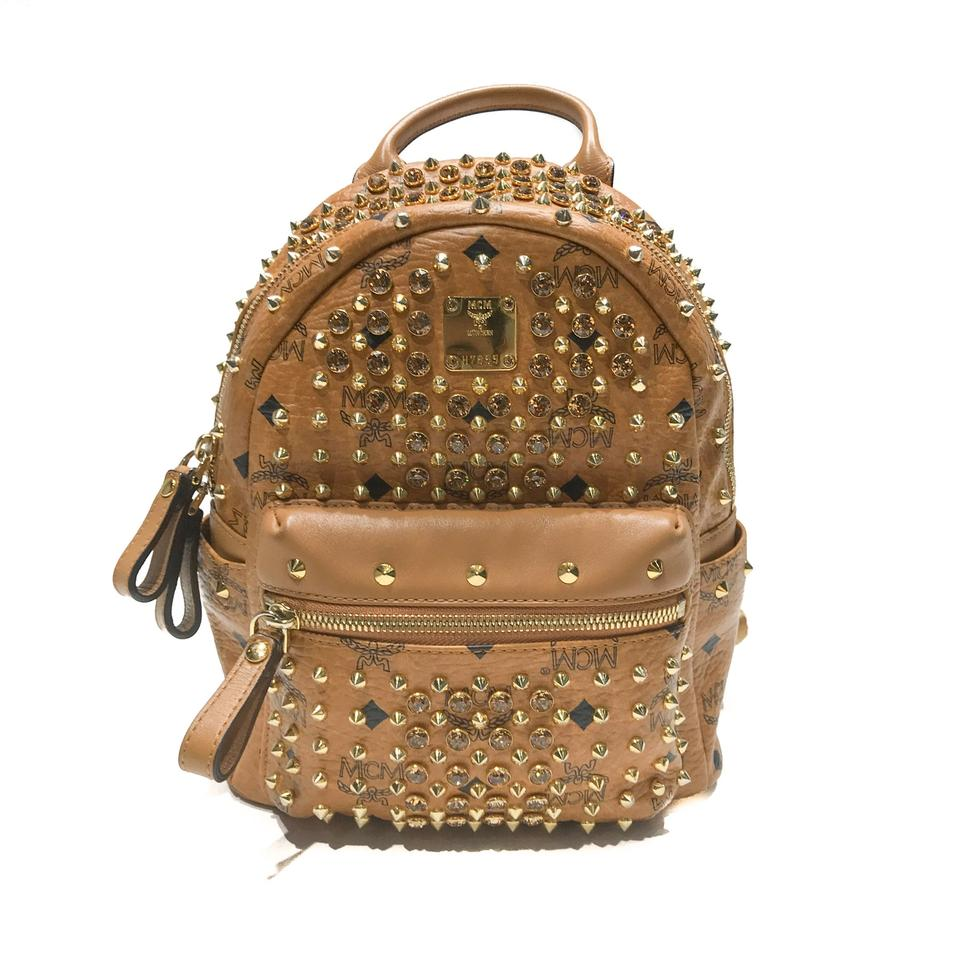 ee07f3f4a MCM Mini Stark with Swarovski Crystals Cognac Coated Canvas Backpack ...