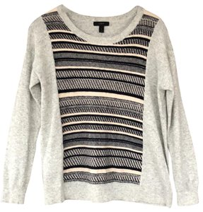 J.CREW Textured Stripe Gray Sweater Small S Sweater