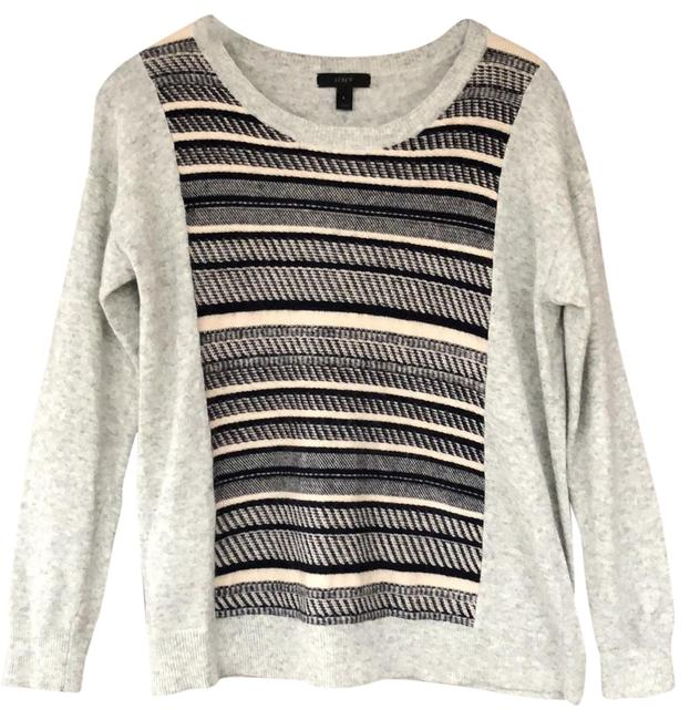 J.CREW Textured Stripe Gray Sweater Small S Sweater Image 0