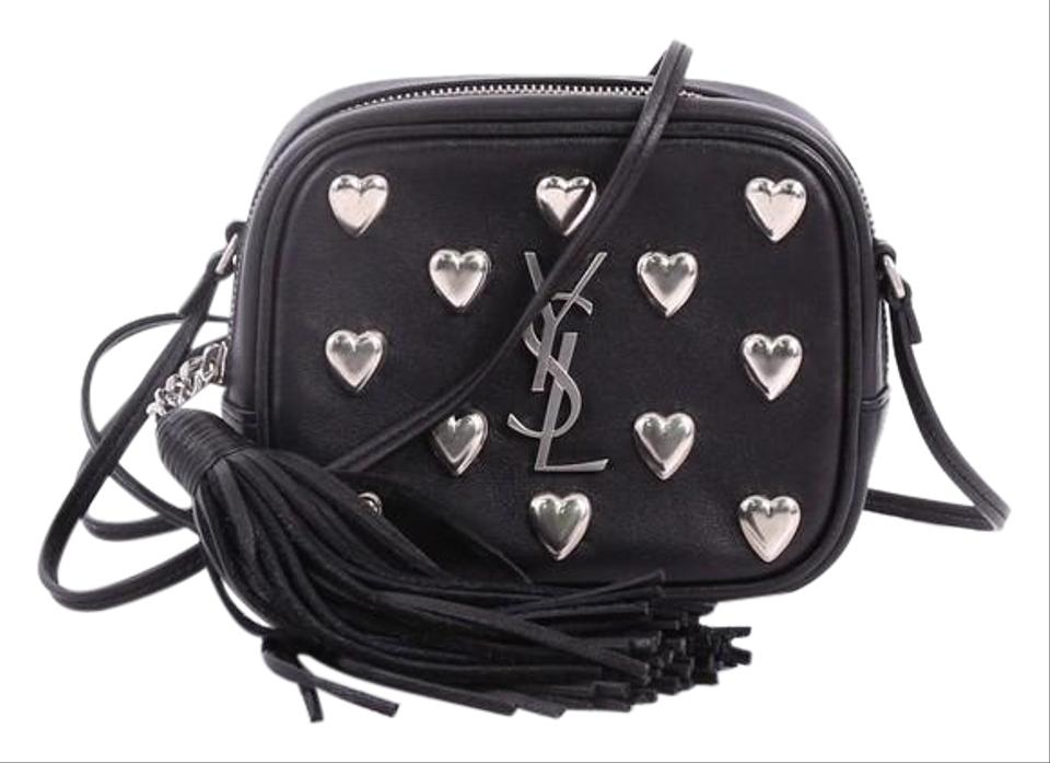 a9b0135d1351 Saint Laurent Monogram Blogger Classic Studded Small Black Leather Cross  Body Bag