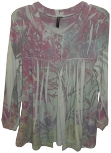 Susan Lawrence Button Soft Floral 3/4 Sleeve Sweater