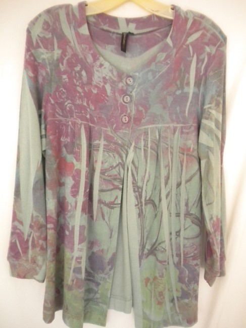 Susan Lawrence Button Soft Floral 3/4 Sleeve Sweater Image 1