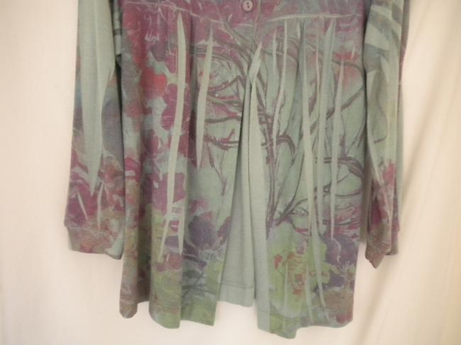 Susan Lawrence Button Soft Floral 3/4 Sleeve Sweater Image 3