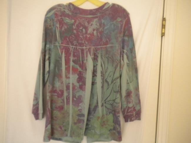 Susan Lawrence Button Soft Floral 3/4 Sleeve Sweater Image 4