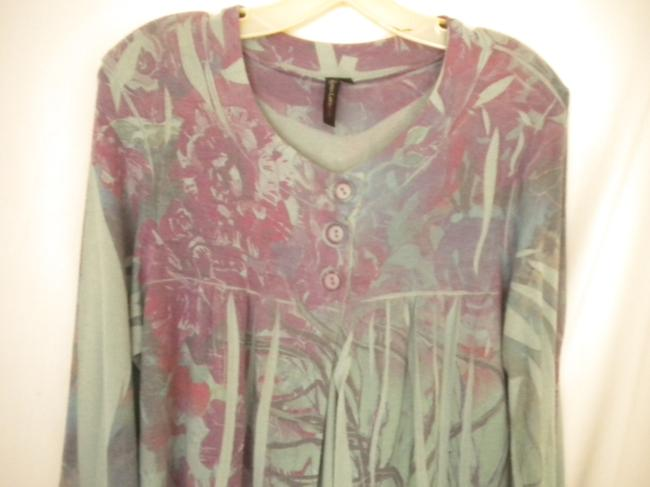 Susan Lawrence Button Soft Floral 3/4 Sleeve Sweater Image 6