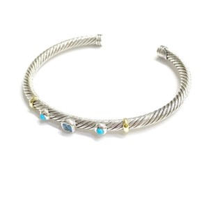 David Yurman DAVID YURMAN RENAISSANCE 18K and Sterling 3 Station Cable Cuff Bracelet Blue Topaz and Turquoise Medium Size 4 mm Never Worn Original Pouch STUNNING!!!