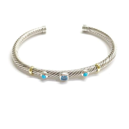David Yurman DAVID YURMAN RENAISSANCE 18K and Sterling 3 Station Cable Cuff Bracelet Blue Topaz and Turquoise Medium Size 4 mm Never Worn Original Pouch STUNNING!!! Image 1