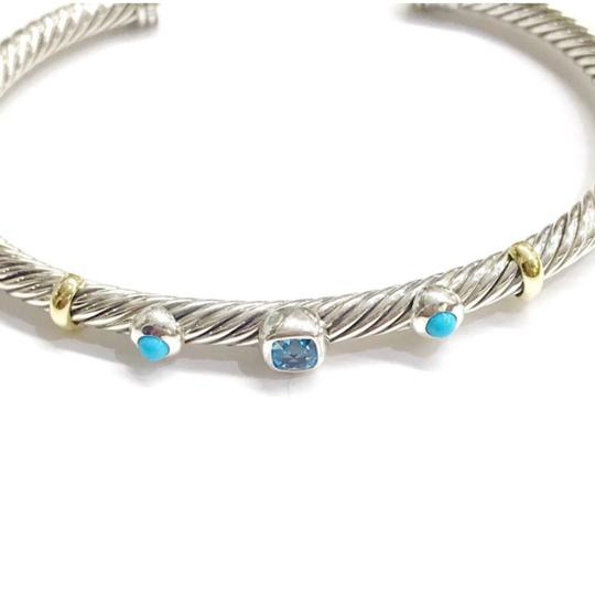 David Yurman DAVID YURMAN RENAISSANCE 18K and Sterling 3 Station Cable Cuff Bracelet Blue Topaz and Turquoise Medium Size 4 mm Never Worn Original Pouch STUNNING!!! Image 2