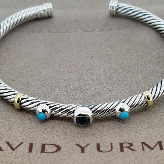David Yurman DAVID YURMAN RENAISSANCE 18K and Sterling 3 Station Cable Cuff Bracelet Blue Topaz and Turquoise Medium Size 4 mm Never Worn Original Pouch STUNNING!!! Image 3