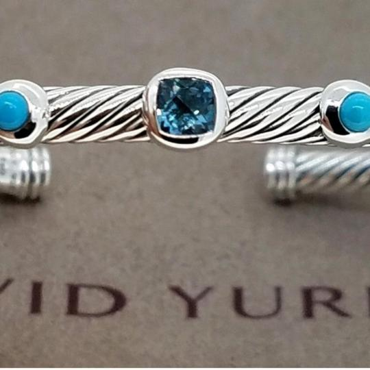 David Yurman DAVID YURMAN RENAISSANCE 18K and Sterling 3 Station Cable Cuff Bracelet Blue Topaz and Turquoise Medium Size 4 mm Never Worn Original Pouch STUNNING!!! Image 4