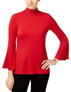 Alfani Mock Neck Bell Sleeve Top Red