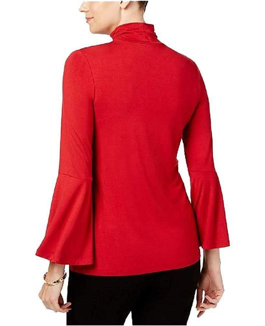 Alfani Mock Neck Bell Sleeve Top Red Image 1