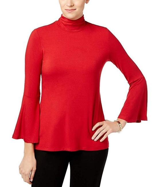 Alfani Mock Neck Bell Sleeve Top Red Image 2