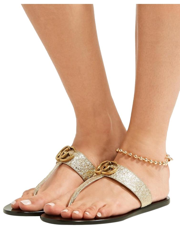 50fde571e12c Gucci Marmont Logo-embellished Metallic Textured-leather Sandals ...
