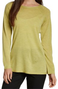 Eileen Fisher Long Sleeve Super Soft Merino Crew Neck Pointelle Knit Hand Washable Sweater