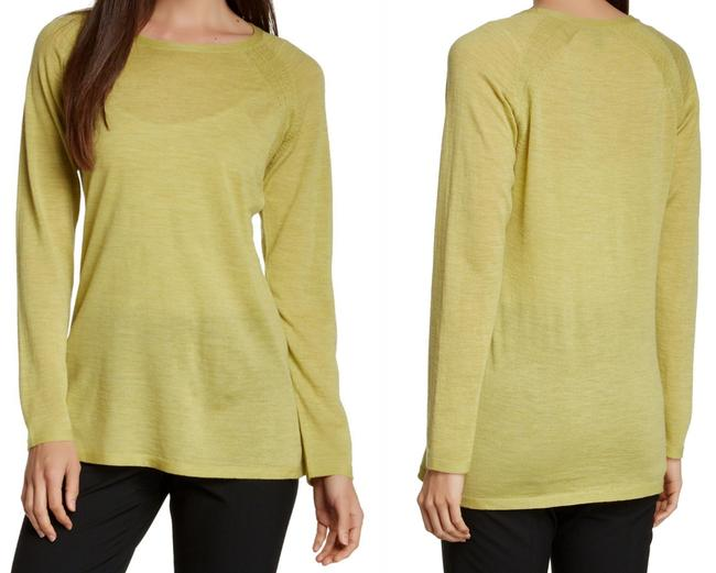 Eileen Fisher Long Sleeve Super Soft Merino Crew Neck Pointelle Knit Hand Washable Sweater Image 1