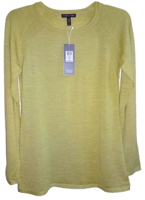 Eileen Fisher Long Sleeve Super Soft Merino Crew Neck Pointelle Knit Hand Washable Sweater Image 3