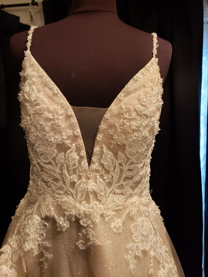 Sottero and Midgley Ivory Over Champagne Shimmer Beaded Lace Tulle Chad Modern Wedding Dress Size 8 (M) Image 1