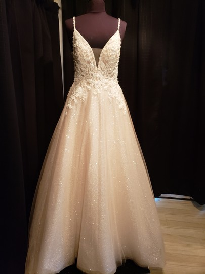 Sottero and Midgley Ivory Over Champagne Shimmer Beaded Lace Tulle Chad Modern Wedding Dress Size 8 (M) Image 2