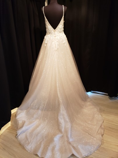 Sottero and Midgley Ivory Over Champagne Shimmer Beaded Lace Tulle Chad Modern Wedding Dress Size 8 (M) Image 4