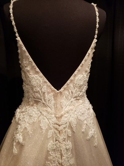 Sottero and Midgley Ivory Over Champagne Shimmer Beaded Lace Tulle Chad Modern Wedding Dress Size 8 (M) Image 5