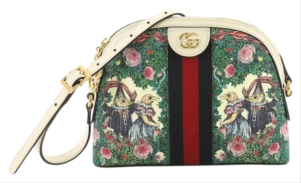 248cbade158 Gucci Dome Ophidia Printed Gg Small Green Coated Canvas Shoulder Bag ...