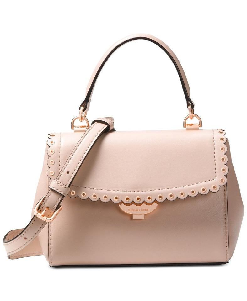 92e908cd785d Michael Kors Ava Extra-small Scalloped Soft Pink Rose Gold Leather Cross  Body Bag