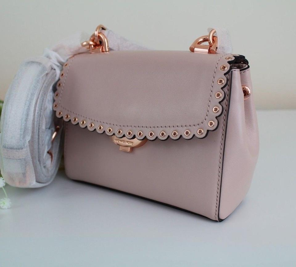 8aa0346da9c2 Michael Kors Ava Extra-small Scalloped Soft Pink Rose Gold Leather Cross  Body Bag - Tradesy