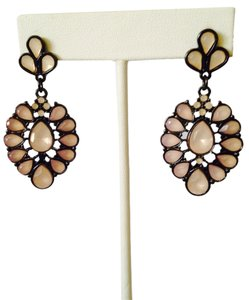 Other Faceted Peach Stone In Gunmetal Dangle Earrings